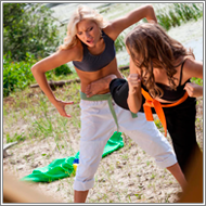 Karate Fight on the beach - Laura vs Blanca