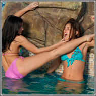 Catfight in pool area - Mela vs Olesia