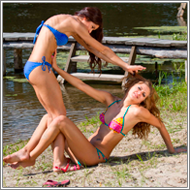 Bikini fight on the beach  - Viktoria vs Sammy