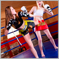 Kickboxing match in the ring – Claire vs Vera