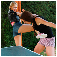 Outdoor Ping-Pong Catfight  - Lexxi vs Laura
