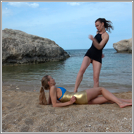 Catfight on the beach – Renee vs Maya – HD
