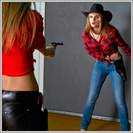 Cowgirl gunfight – Vicky vs Jillian