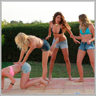 2-on-2 outdoor brawl – Renee, Lexxi vs Laura, Blanca