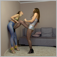 SCR167 - Crotch kicking fight - Tess vs Maya