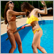 Fight with toyswords by the pool – Renee vs Tess